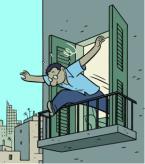 autor saltando del balcón